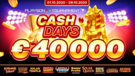 Playson October CashDays tournament features €40,000 prize pool; EGR Italy 2020 shortlisted honor