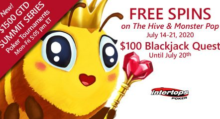 Buzzing spins deal on The Hive online slot and $100 Blackjack Quest this week at Intertops Poker