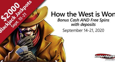Intertops Poker offering wild west style spins week plus blackjack bonuses