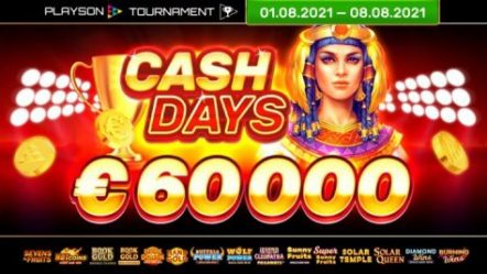 Playson launches August edition of online slots CashDays Tournament with €60,000 prize pool